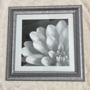 Custom Silver Framed Black & White Flower Artwork